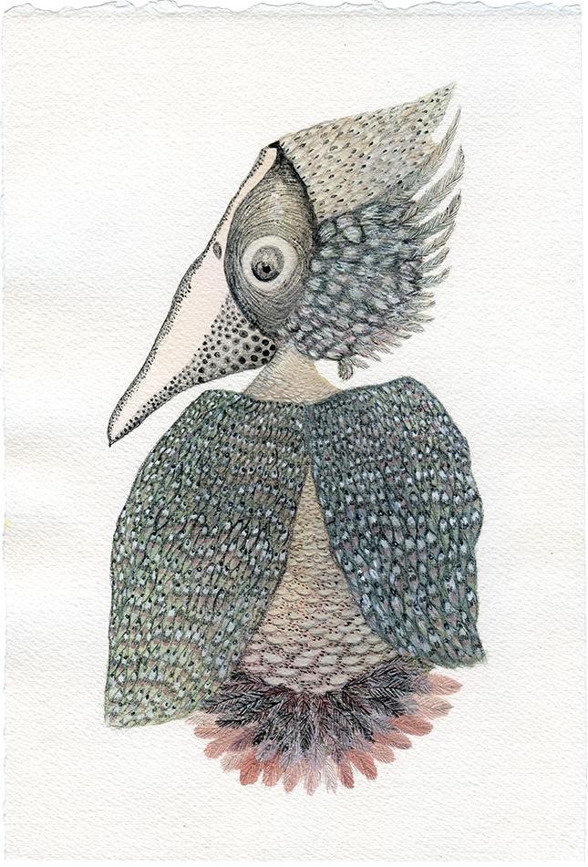 """""""Pájaro"""" Acuarelas y tintas. Arches aquarelle. 19,50 x 28,70 cm."""