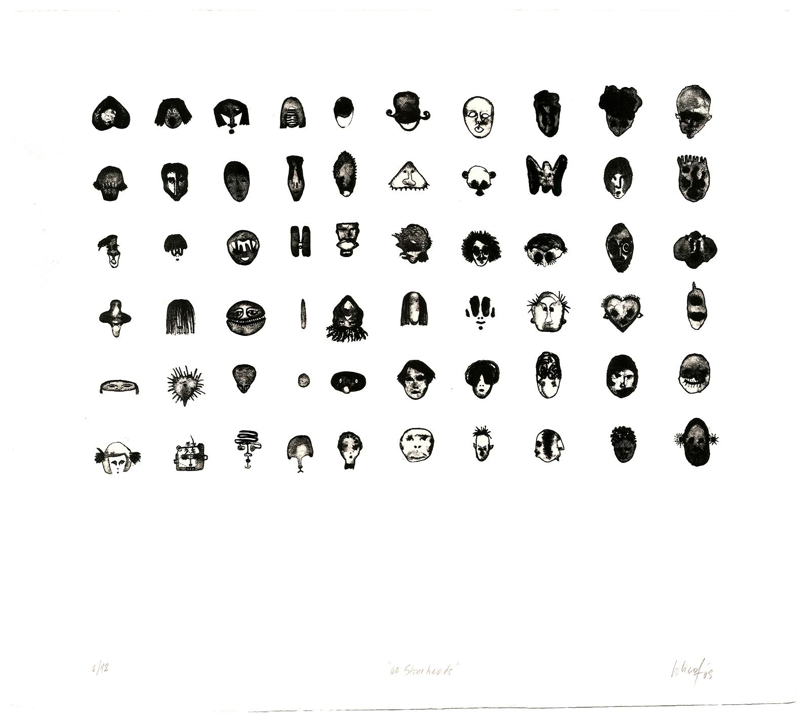 """60 Stoneheads"". Litografía. Aguada. Magnani. 56 x 50 cm."