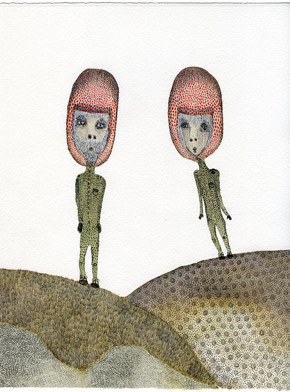 """""""Back to earth"""" Acuarelas y tintas. Arches velin. 21,50 x 29 cm."""