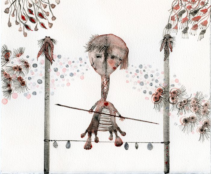 """Couple on wire"" Acuarela y tintas. Arches aquarelle. 26 x 21,60 cm."