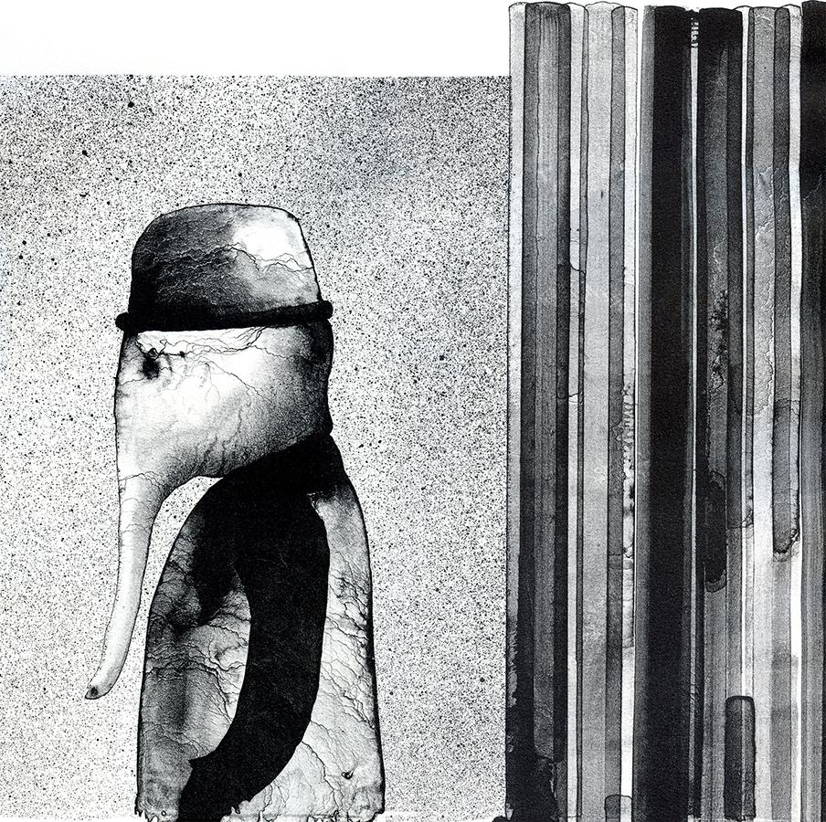 """""""Hombre elefante"""" Litografía. Aguada. 38 x 50 cm."""