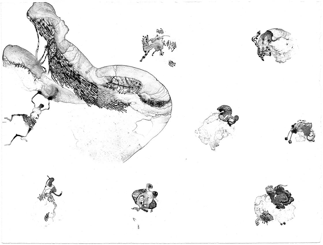 """""""Micro criaaturas"""" Litografía. Aguada. 50 x 38 cm."""