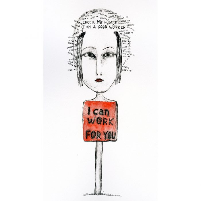 """""""I can work for you"""" Acuarelas y tintas. 16,53 x 29, 07 cm."""