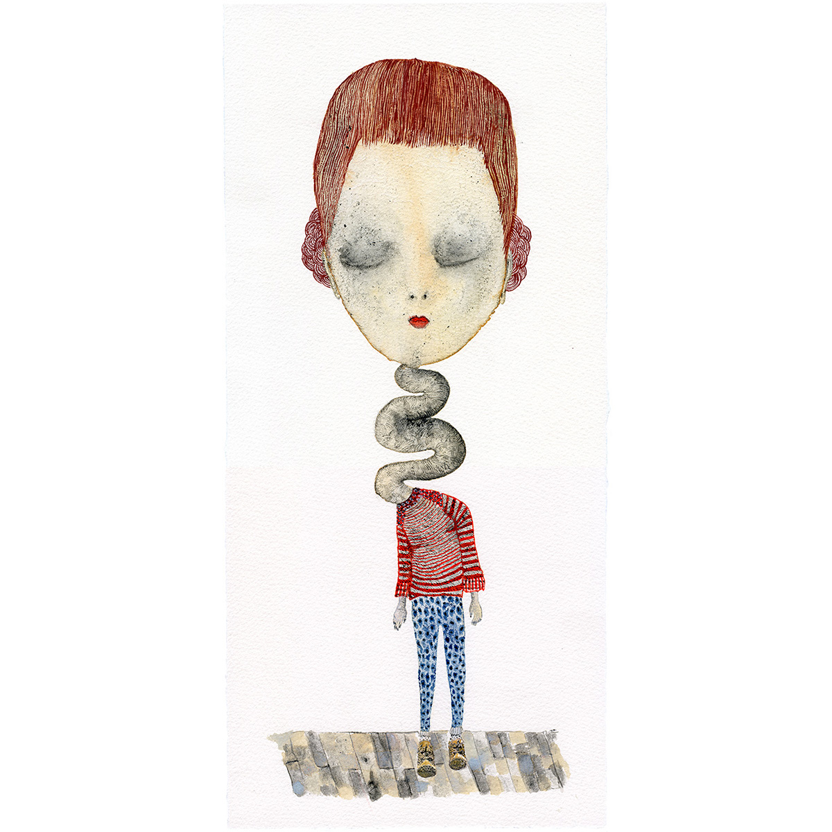 """Need to talk"" Acuarelas y tinta. Arches velin. 20,04 x 42,70 cm."